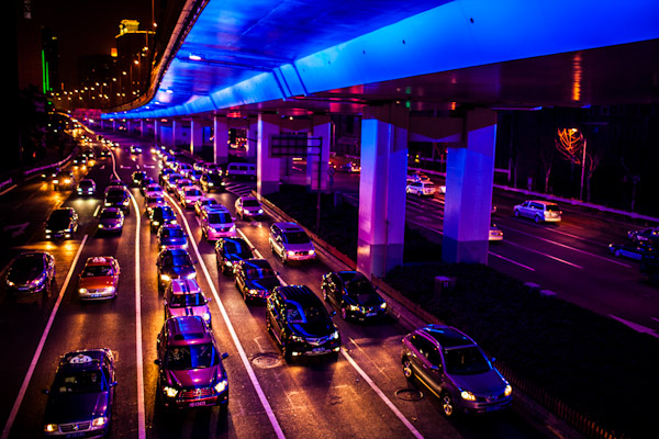 Photo of Shanghai traffic at night