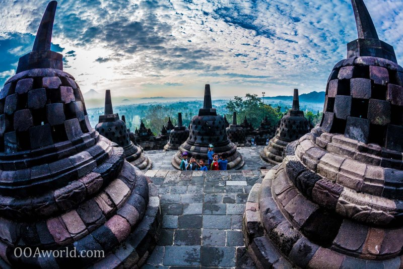 Photo Borobudur Sunrise Bells Yogyakarta Indonesia Ooaworld