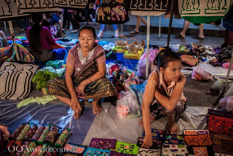 Saleswomen Waiting Luang Prabang Night Market Photo Ooaworld