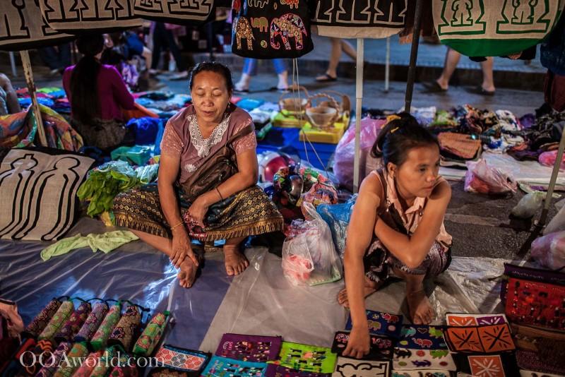 Saleswomen Waiting Luang Prabang Night Market Photo Ooaworld