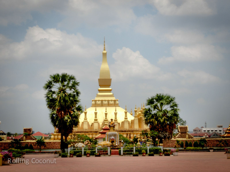 Pha That Luang Stupa Vientiane Laos Rolling Coconut Ooaworld Photo Ooaworld