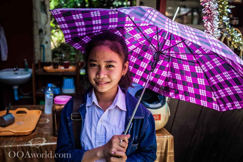 Laos Umbrella Girl Photo Ooaworld