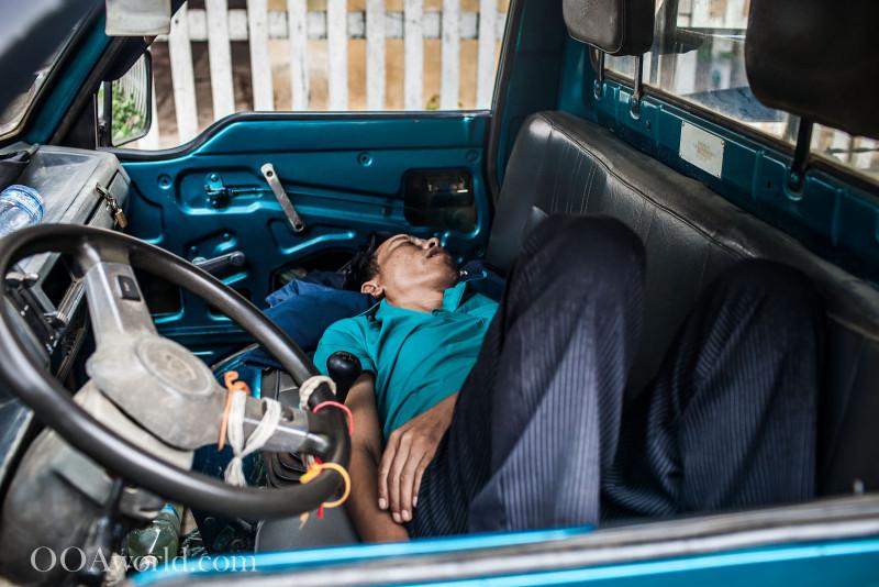 Sleeping Driver Luang Prabang Photo Ooaworld
