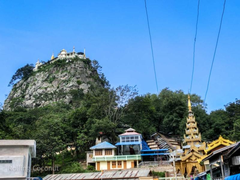 Mount Popa from the Bottom Bagan Myanmar Ooaworld Rolling Coconut Photo Ooaworld