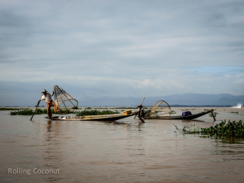 Fishermen Inle Lake Myanmar ooaworld Rolling Coconut Photo Ooaworld