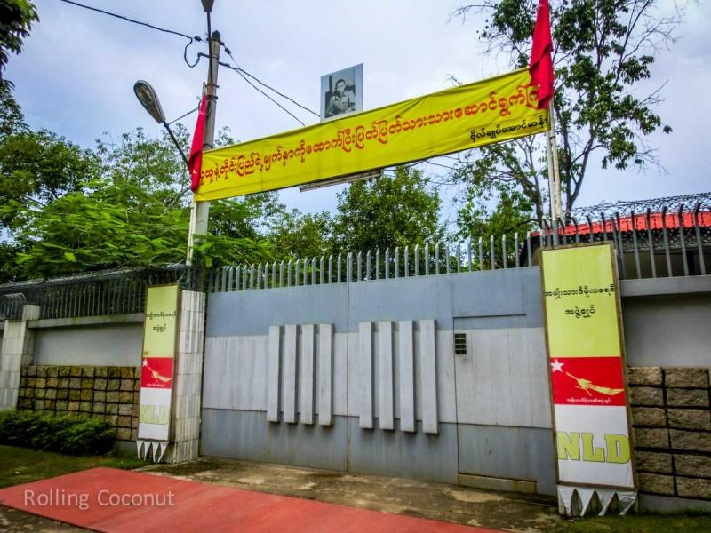 Aung San Suu Kyi Home Gate Yangon Myanmar ooaworld Rolling Coconut Photo Ooaworld