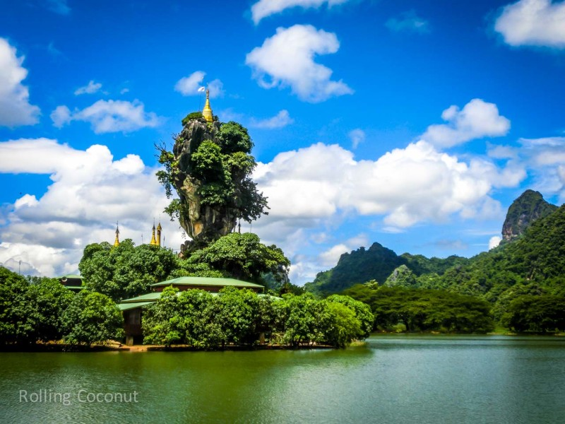 Kyauk Kan Latt Pagoda Hpa An Myanmar ooaworld Rolling Coconut Photo Ooaworld