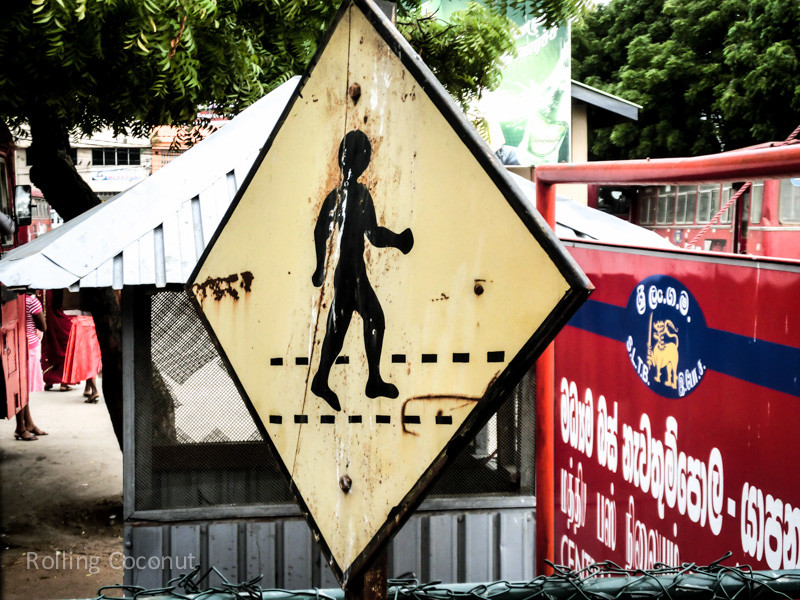 Pedestrian Crossing Sign Jaffna Sri Lanka ooaworld Rolling Coconut Photo Ooaworld