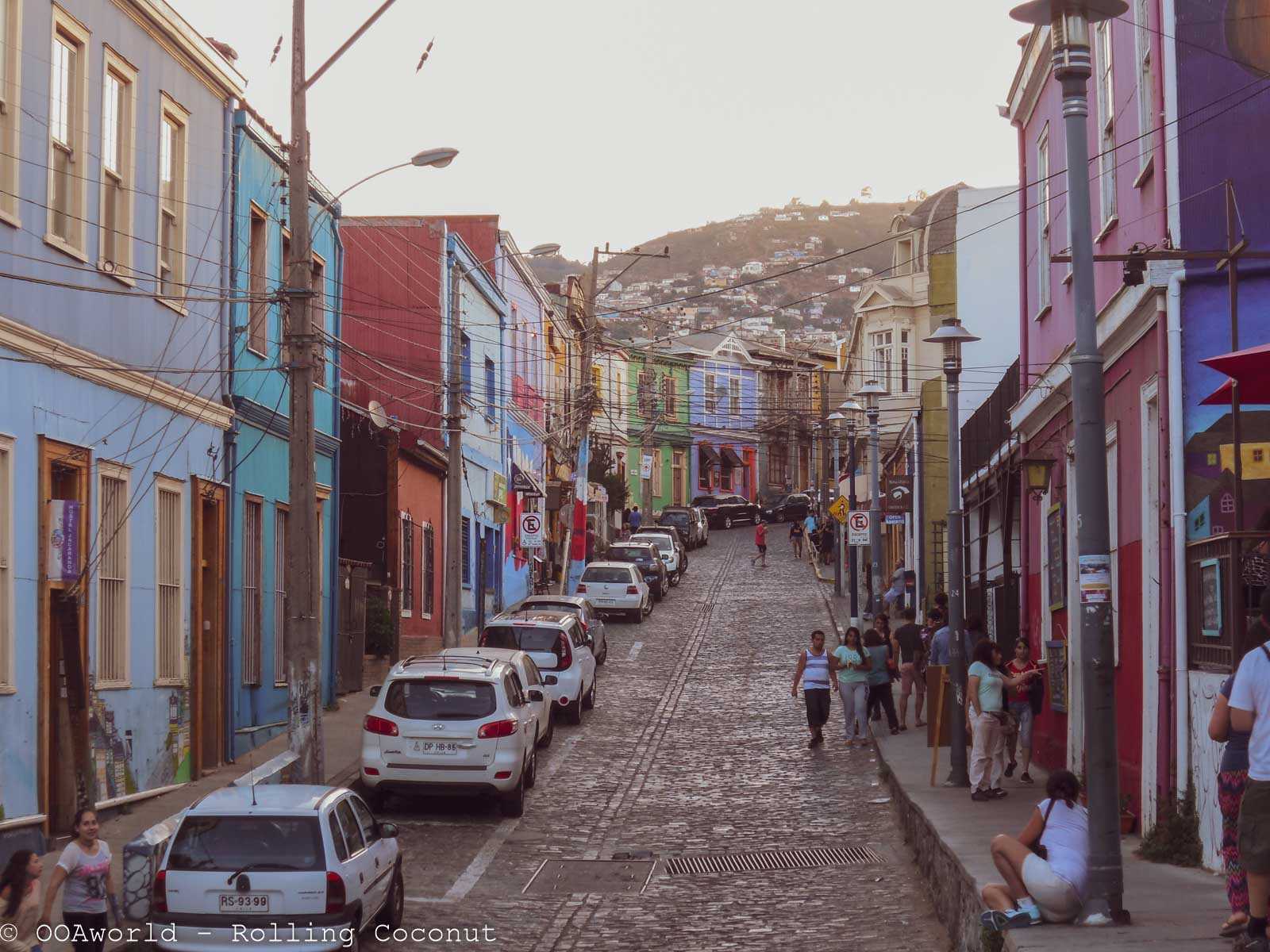 Hilly streets in Valparaiso, Chile - OOAworld Rolling Coconut Photo