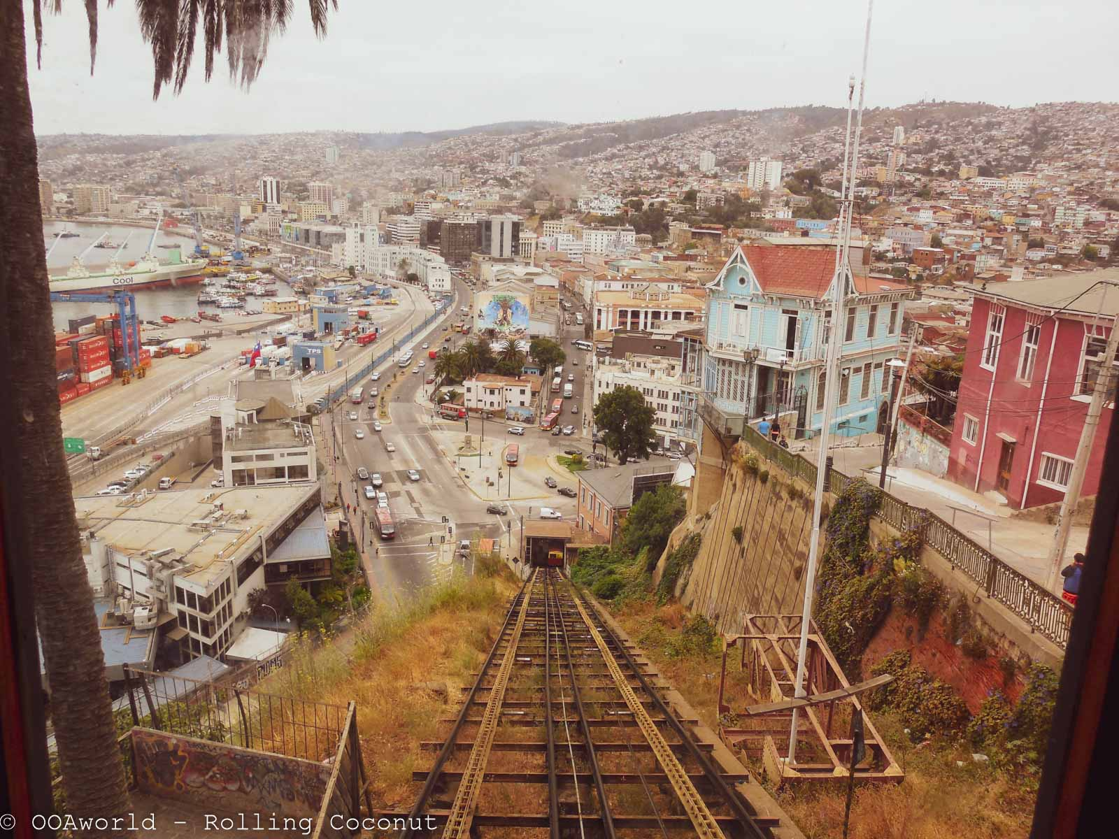 View of Ascensores and the city of Valparaiso, Chile - OOAworld Rolling Coconut
