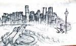 denver skyline sketch ooaworld