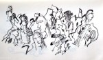 end road crowd art drawing ooaworld