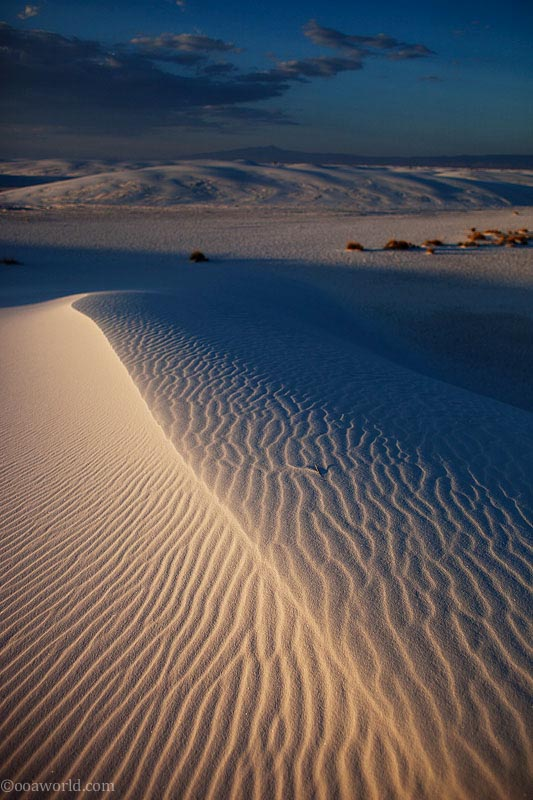 Sunset dunes, white sands
