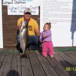 Anders Dereski caught this 16-pound salmon when he was fishing with his daughter, Esme, on Lake Superior.