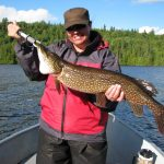 Christine Bailey was in Air Melancon in Quebec looking for big pike when she landed this 12-lb. monster. She had just caught one 10-lb. before that. One proud lady..