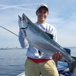 Cooper Zapparoli, 17, of Georgetown with his 20-pound chinook salmon caught on Lake Ontario.