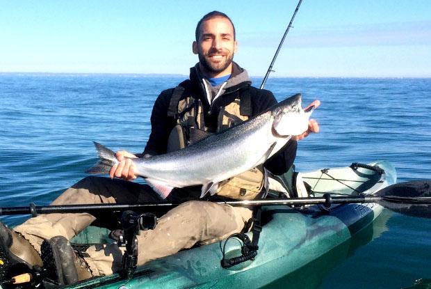 salmon, lake ontario, kayak, fishing