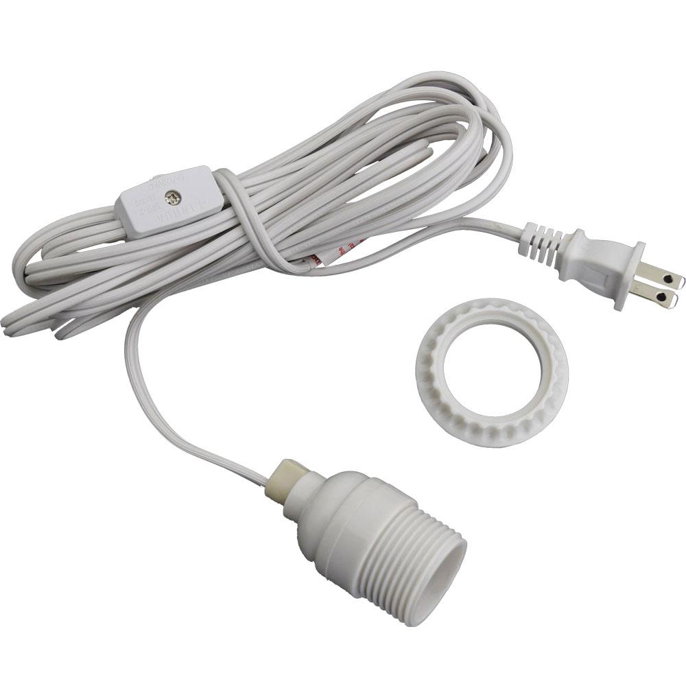 White Lantern Power Cord & Light Socket Set
