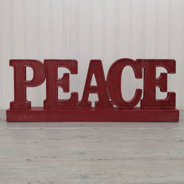 Battery Operated Led Lighted Peace Wood Sign