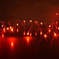 Red Plug-In LED Dew Drop String Lights