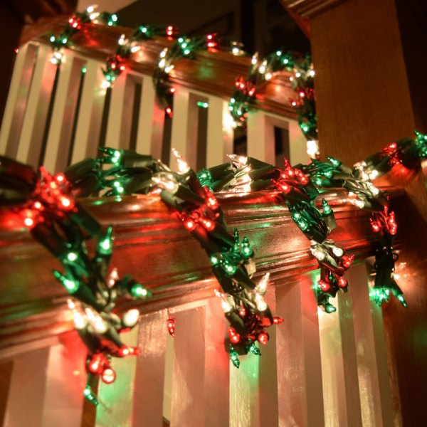 Red White and Green Christmas Lights