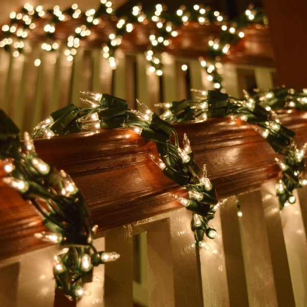 White Christmas Garland with Lights