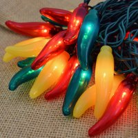 Red, Green and Yellow Chili Pepper String Lights - 50 Lights