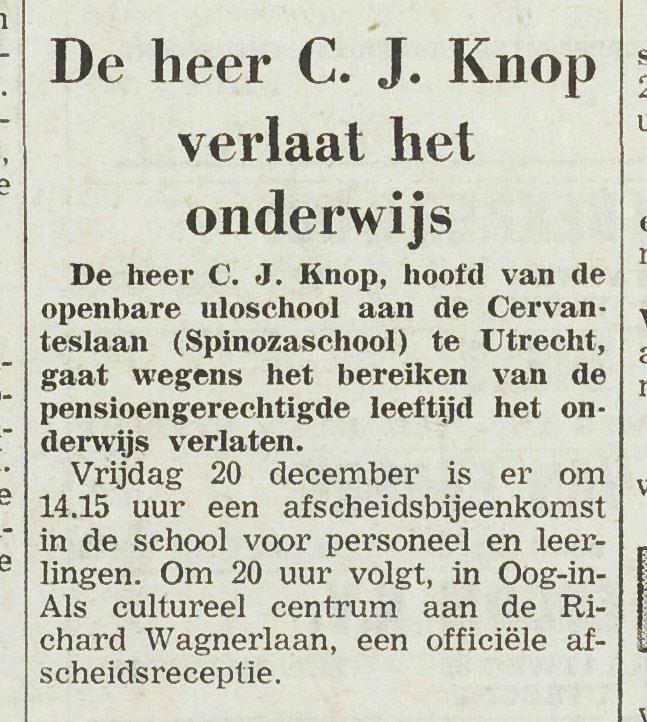 1e894fa4a8e Afscheid directeur C.J.Knop van de Spinozaschool, UN 17 december 1963 ...