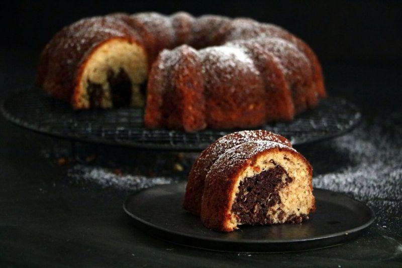 עוגת שיש שוקולד ובננות