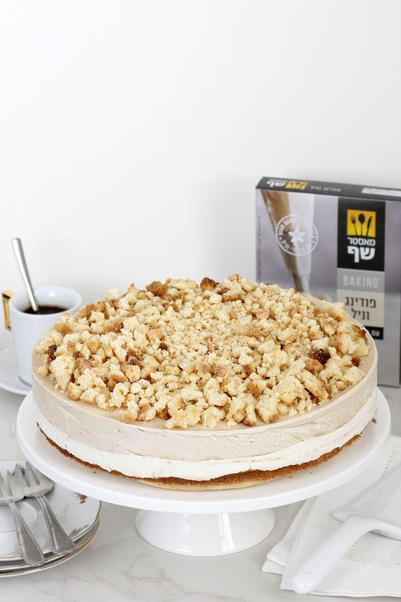 עוגת גבינה פירורים עם קרם קפה