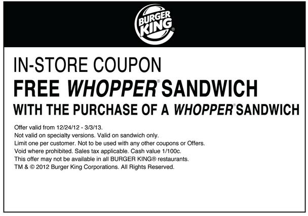 Burger King: BOGO Free Whopper Printable Coupon