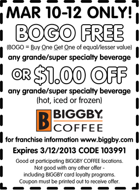 Biggby Coffee: BOGO Free Printable Coupon