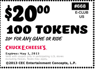 Chuck E Cheese: $20 for 100 Tokens Printable Coupon