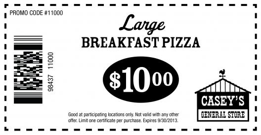 Caseys General Store: $10 Breakfast Pizza Printable Coupon