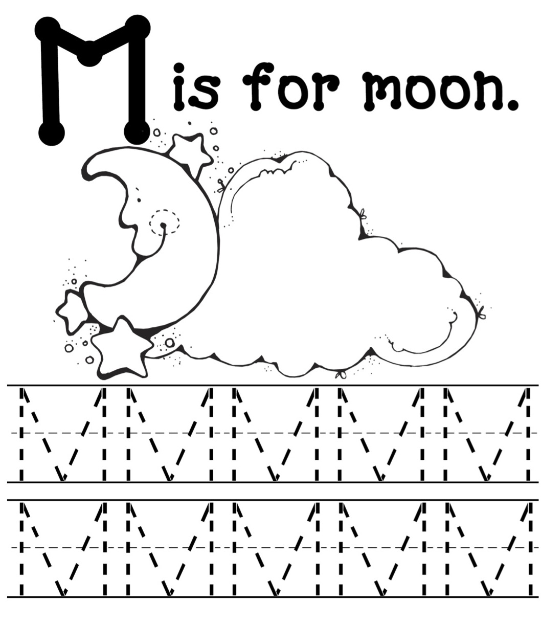M Is For Moon Letter Tracing Page