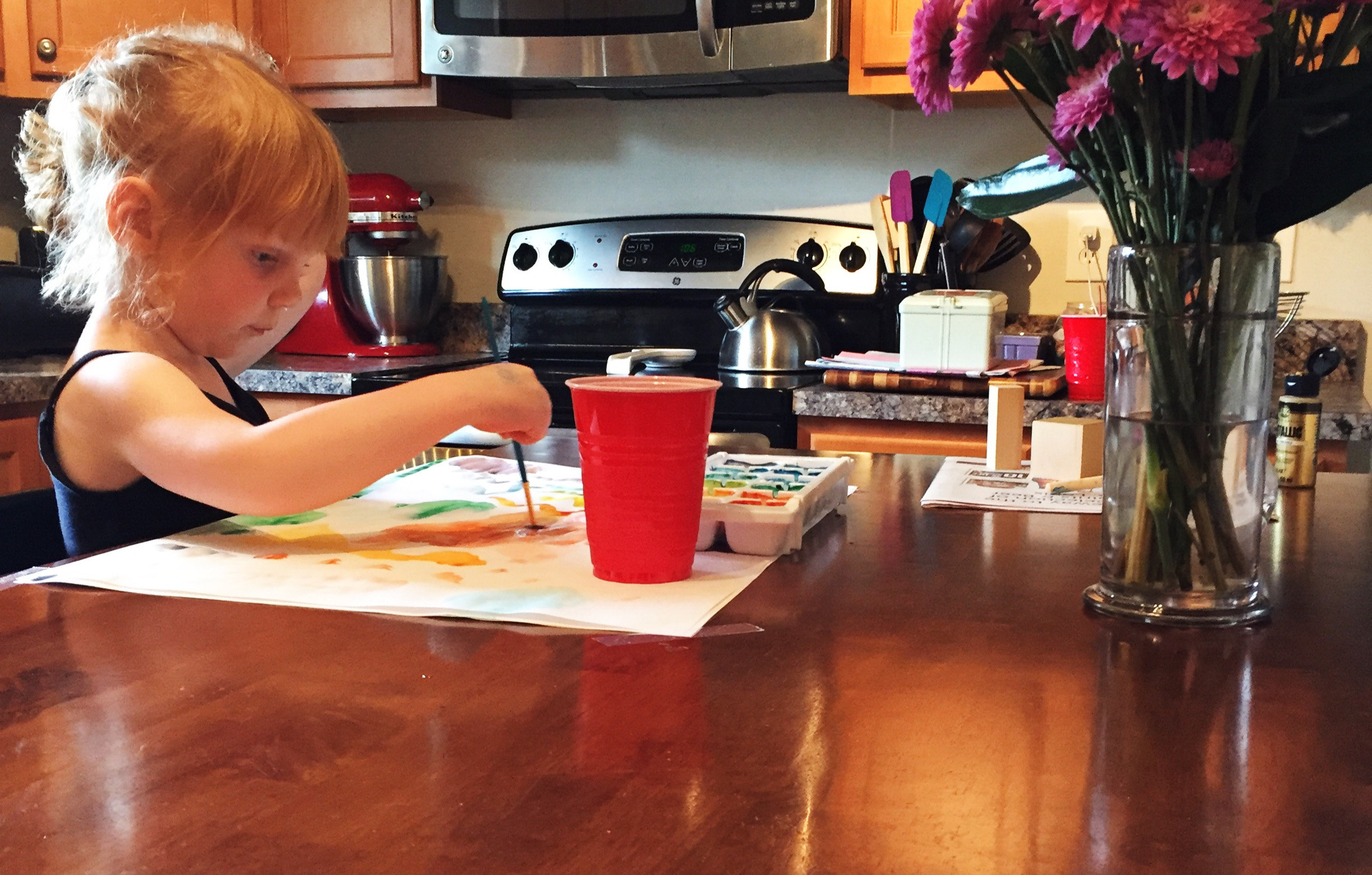 watercolor painting in kitchen