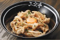 新潟産コシヒカリと美味しいカナダポーク の最強コラボ、豚力丼。ニンニクが効いた 自家製タレと卵でスタミナ補給にもバッチ リ $9.75。ミニサイズの豚力小丼は$5
