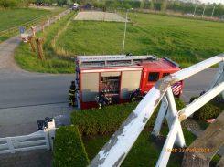 De brandweer ter plaatse