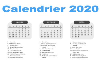 Calendrier 2020 pour vos activités webmarketing