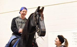 Equine simulator brought by South Algonquin Trails. / Darren Lum of the Haliburton Echo