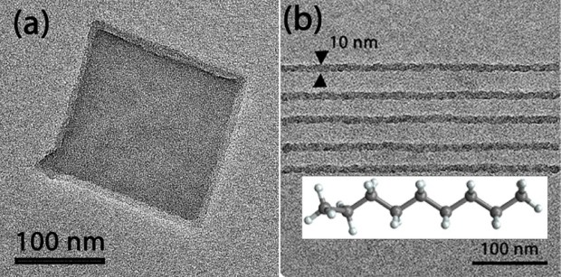 Figure 3: (a) 150x150 nm2 square area and (b) parallel lines patterned on n-nonane (inset) organic ice in ETEM