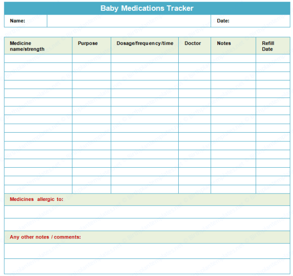 Baby Medications Tracking Sheet