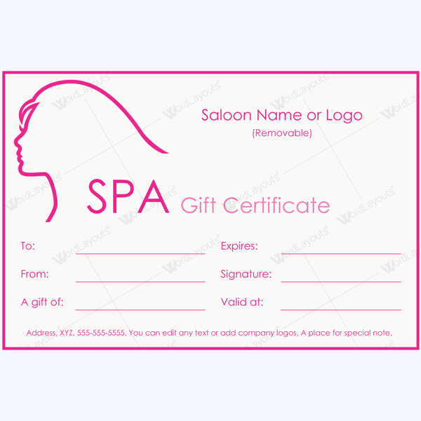 Spa Saloon Gift Certificate Template