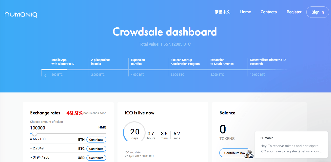 Humaniq crowdsale