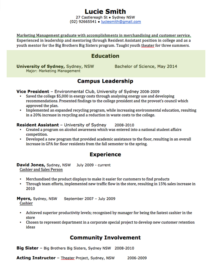 resume samples for non professional resume