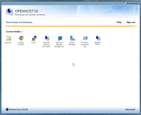 Page d'accueil RDS Web Access Serveur TSE Terminal Services
