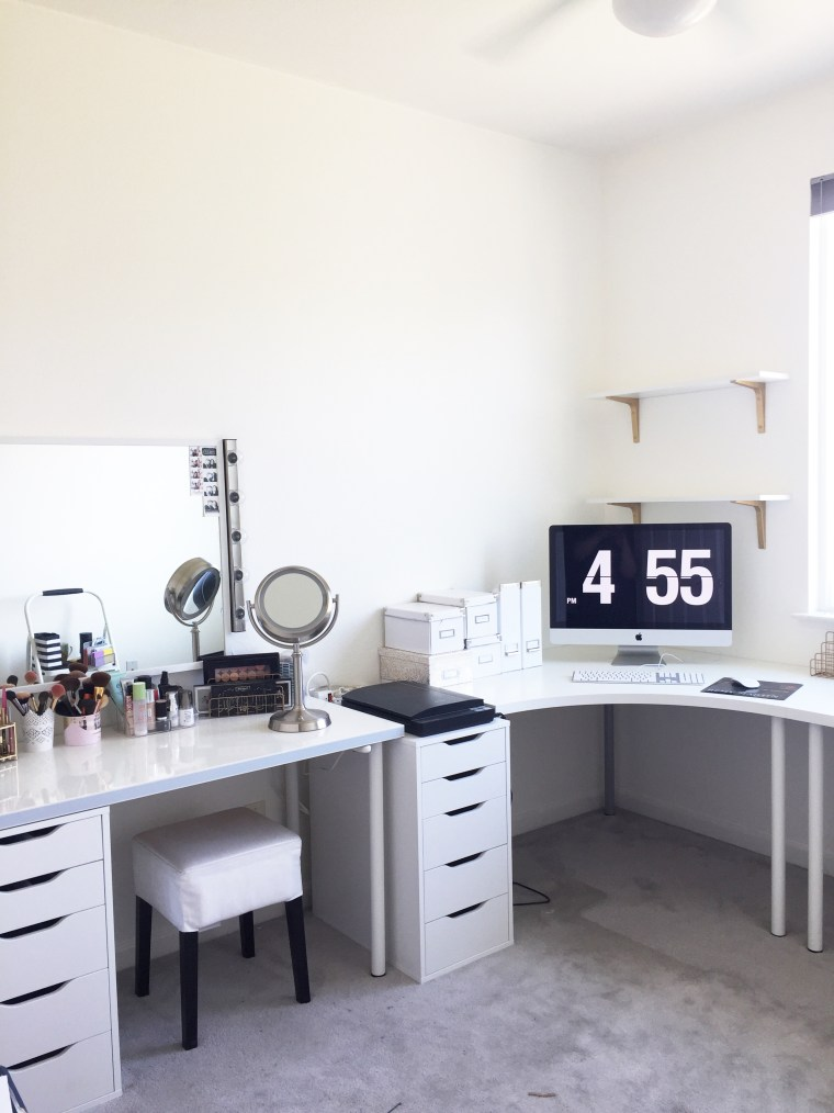 Designing Your Work Space Around Your Brand - Ikea custom vanity linnmon table top alex drawers stave mirror musik wall lights