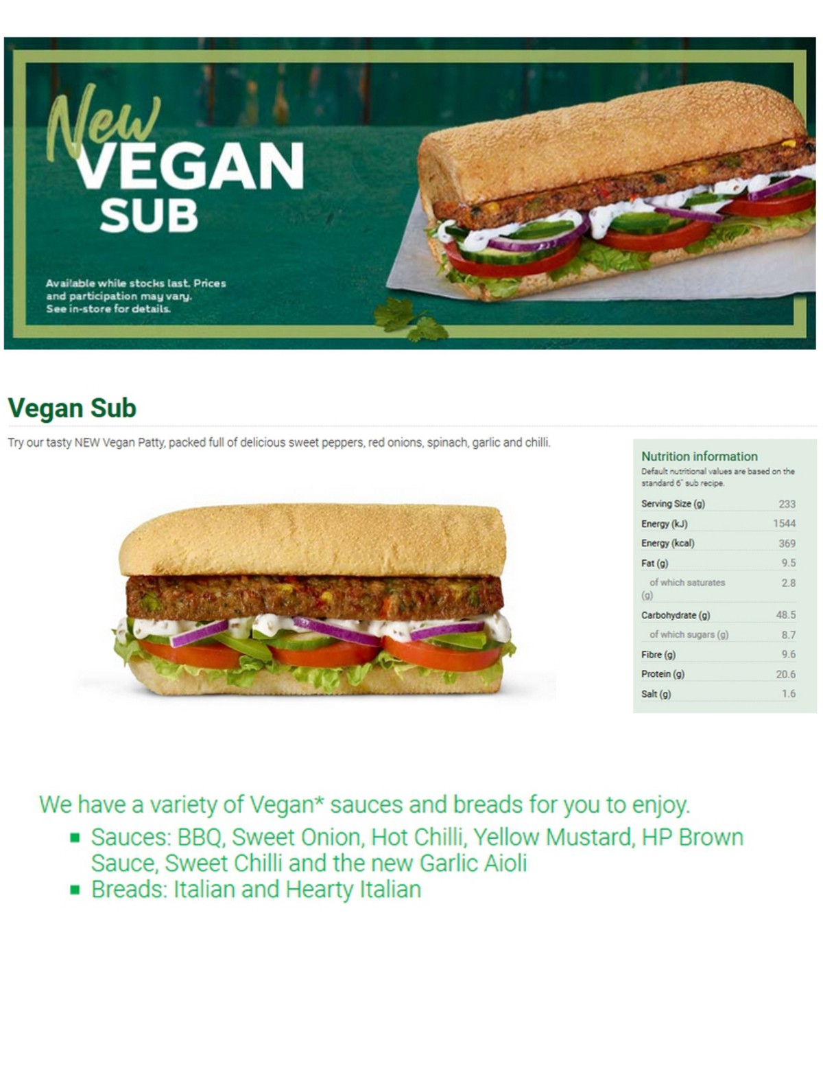SUBWAY Vegan Offers & Menu for April 1 - Page 2