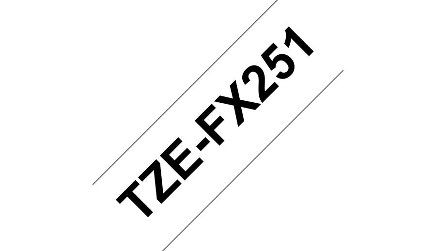 Brother TZe-FX251 ruban d'étiquette Noir sur blanc