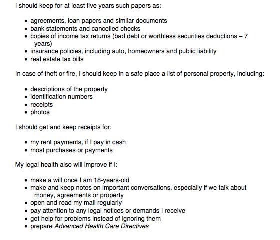 Legal Health Checklist - general to do